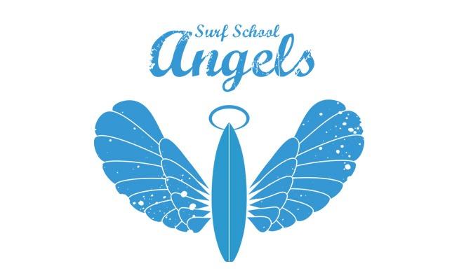 Escola de Surf Angels Surf School (logo azul)